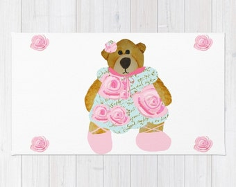 Rug, Teddy Bear and Roses