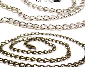 Chain necklace adjustable 50 cm chain necklace silver, bronze chain necklace, pendant necklace