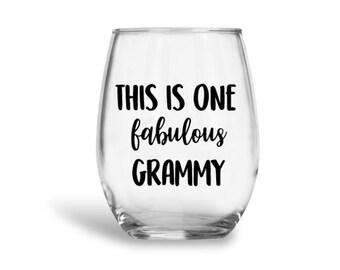 Grammy wine glass, Grammy gift, custom wine glass, grandma gift, Granny wine glass, Nana wine glass, fabulous grammy, custom wine glasses