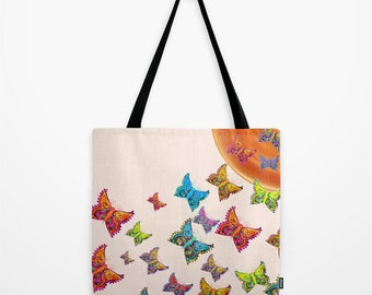 Butterflies Tote Bag Personalized, 13x13 16x16 18x18, Women Birthday Gift Cute Colorful Nature Beach Shopping Market Accent Everyday Grocery