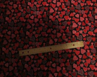 Black Metallic Valentine  Hearts Toss Cotton Fabric By the Yard