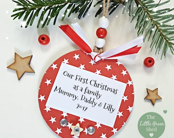 Our First Christmas As A Family Personalised Bauble Sign Tree Decoration