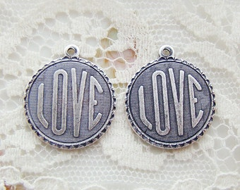 Romantic LOVE Charm Word Pendant Antiqued Silver Ox 19mm Round - 4