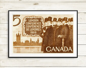Clothing gift, London Conference, large brown poster, Canada Day, Canada 150, Canada History, Canada Confederation, Canada 1867, clothing