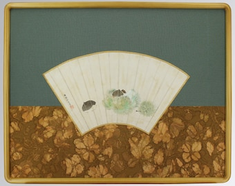 Antique Japanese Fine Art Painting Chestnuts Framed with Kimono Textile – 110530f