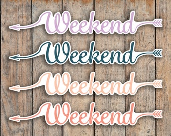 9 CLASSIC Script Weekend Banner, Cursive Font Stickers for 2018 inkWELL Press Planners IWP-Q36