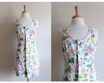 Vintage White Floral Linen Esprit Dress