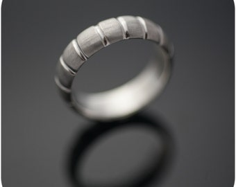 Modern Wedding Band - Unisex Sterling Silver Muskmelon Ring