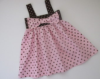 SALE! Girls size 5-6 cotton, brown and pink polka dot sundress with large bow. Girls summer dresses. Vacation clothes. Party dresses.