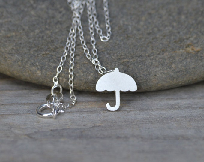 Umbrella Necklace In Sterling Silver, Weather Forecast Necklace, Rainy Day Necklace, British Weather Necklace Handmade In England