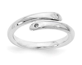 Sterling Silver Ring, Dainty Ring, .02ct Diamond Ring, Simple Ring, Silver Simple Ring
