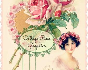 Vintage Valentine With Loads of Love Large digital download ECS buy 3 get one free Pink ROSES romantic single image