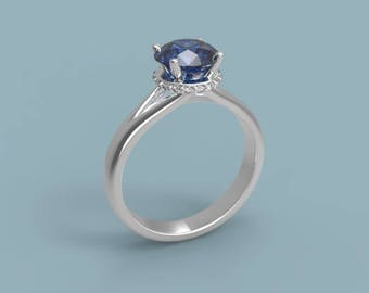 14k White Gold Sapphire Halo Engagement Ring Sapphire Ring White Gold Ring Sapphire Diamond Engagement Ring Sapphire Halo Ring