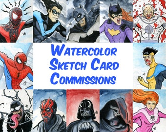 Watercolor Sketch Card Commissions - 2.5x3.5 - Marvel DC Image Comics