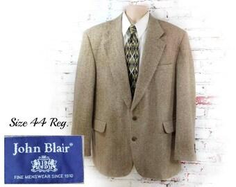wool Sport coat, men's tan blazer, men's sports jacket, men's blazer, Tan wool sport coat , size  44 reg - # 41
