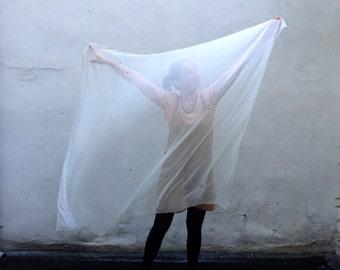white  - Swan Transforming Silk Zodiac Shawl