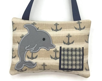 Tooth Fairy Pillow Boys - Child's Tooth Pillow - Boy Tooth Pillow - Dolphin Tooth Fairy Pillow
