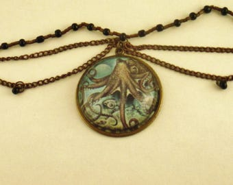One of a kind, Steampunk, Octopus Chain Choker Necklace