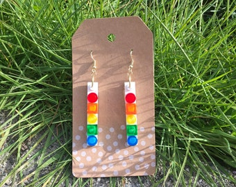 Upcycled RAINBOW Circles and Squares Dangle LEGO Earrings