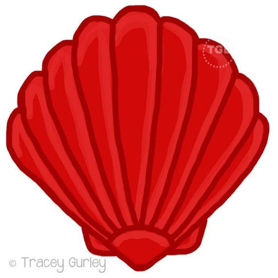 red scallop shell original art download 2 files scallop rh etsy com seashell clip art black and white seashell clip art free