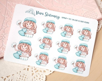Kawaii Girl Cooking, Decorative Stickers ~Vera~ For your Life Planner, Diary, Journal, Scrapbook...