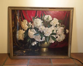 White peonies print by Elmore Greene