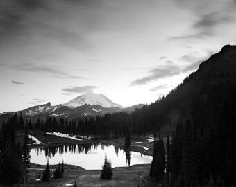Mount Rainier National Park, Washington Landscape Black & White Print in a Wood Frame