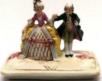 Victorian Couple Figurine Trinket Box Lid German Fairing