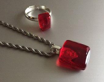 Jewel Red-glass pendant-ring-pendant red-jewelry glass-Birthday gift-Gift woman-necklace-schmuck Frau-Glass jewellery-kette (with free chain)