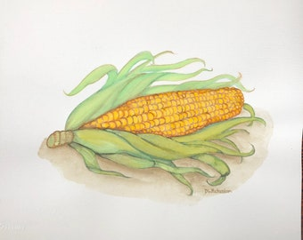 Summer Corn, an original Watercolor painting for farmhouse decor