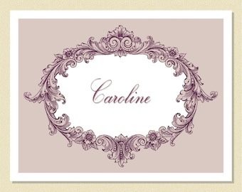 Victoriana In Violet - So Lovely - Personalized Note Cards (10 Folded)