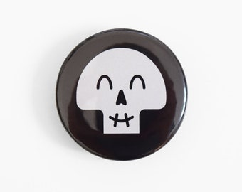 Happy Skull Button Badge