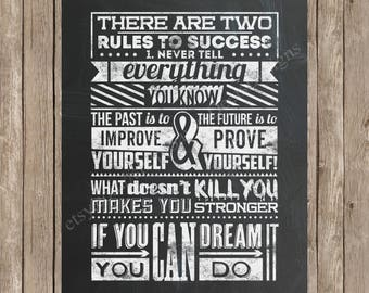 There Are Two Rules to Success - Chalkboard Style Printable - Digital File - Wall Art - Inspirational Quote - If you can dream it you can do