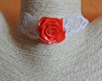 red rose Choker on lace