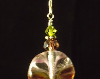 Mauve and green earrings