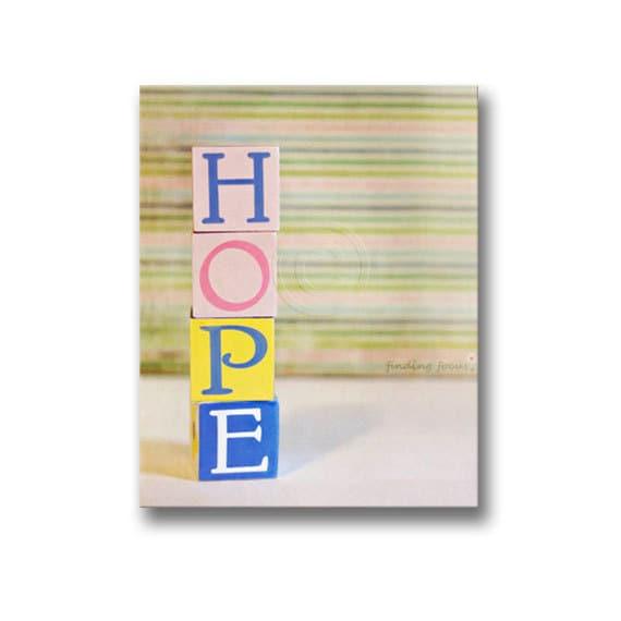 Hope Nursery Print Children\'s Blocks Word Wall Art