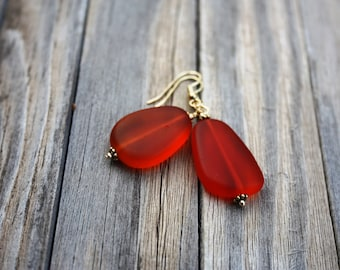 Orange Earrings, Sea Glass Earrings, Seaglass Earrings, Sea Glass Jewelry, Beach Glass Earrings, Beach Glass Jewelry Beach Jewelry Ocean 070