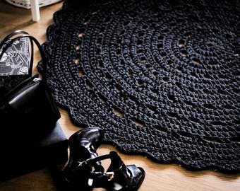 Charcoal Gray Crochet Rug, Gray Rug, Floor Mat, Bed Room Floor Mat, Home Decor, Photo Prop, Living Room Decor