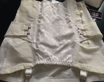 Vintage Camp Cadenza White Floral Jacquard Open Bottom Girdle~6 Garters~91213