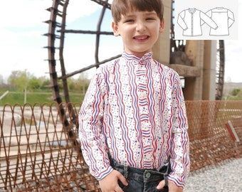 Boy Shirt PDF Pattern mod. Walker 2 3 4 5 6 7 years mao collar, long sleeve shirt and front placket, INSTANT DOWNLOAD, easy sewing pattern