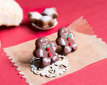 Gingerbread Man Earrings Miniature Food