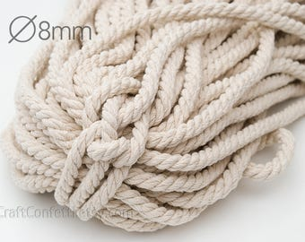 Nautical twisted rope 8mm Natural color cotton cord Beige cotton rope Cotton twisted rope Decoration rope Nautical decor / 5 meters