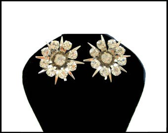 Clear Rhinestone Earrings, Silver Starburst, Rhinestone Flower, Rhinestone Starburst, Rhinestone Sun  Earrings, Mothers Day Gift For Her