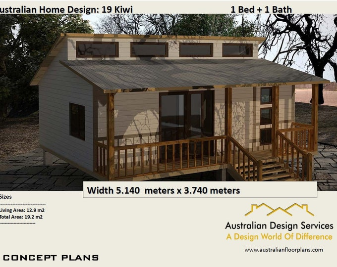19 Kiwi - 19 m2 |  1 Bedroom Transportable home - Concept House Plans For Sale