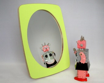 makeup mirrors - apple green mirror made of laminated birch plywood, small standing mirror, modern design.