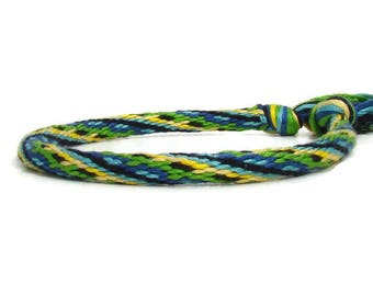 Woven blue and green 28 strand kumihimo bracelet with or without stainless steel magnetic clasp.  Clasp sold separately.
