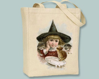 Darling LIttle Witch with Kittens Vintage Illustration Canvas Tote -- selection of sizes available