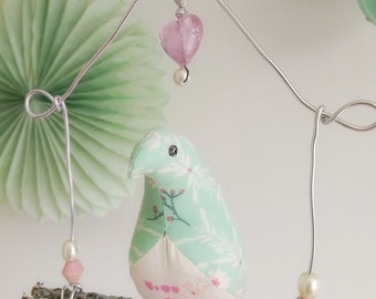 Ava Pastel Fabric Bird on Pretty Wire and Wood Swing with Beading Detail nursery mobile birdcage tweet