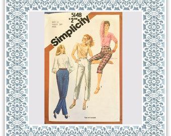 Simplicity 5148 (1981) Misses' straight-leg pants in three lengths - Vintage Uncut Sewing Pattern