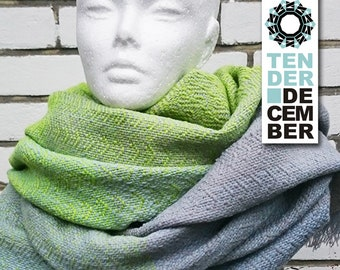 Blanket shawl, gray and lime, handmade weaving, acrylic shawl, lime scarf, weaving shawl women, handmade shawl, big scarfs, soft woven shawl